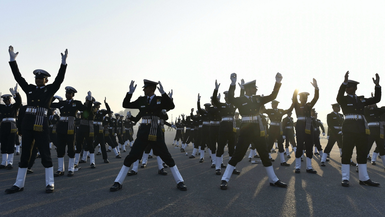 The contingent of the Indian Navy during the Republic Day parade rehearsal at Rajpath in Delhi on Sunday. (PTI Photo)