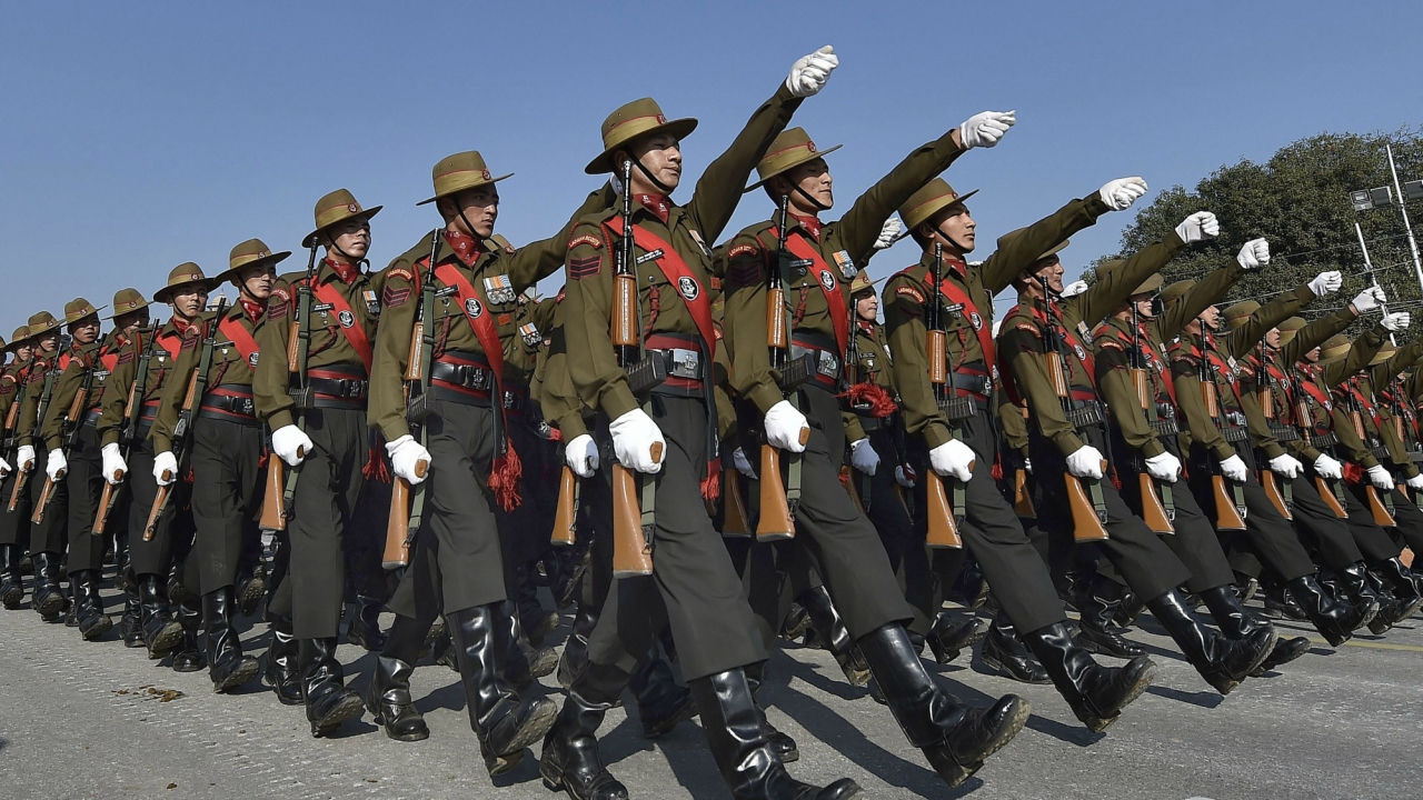 A marching contingent of Ladakh Scouts during the Republic Day parade rehearsal at Rajpath in New Delhi on Sunday. (PTI Photo)