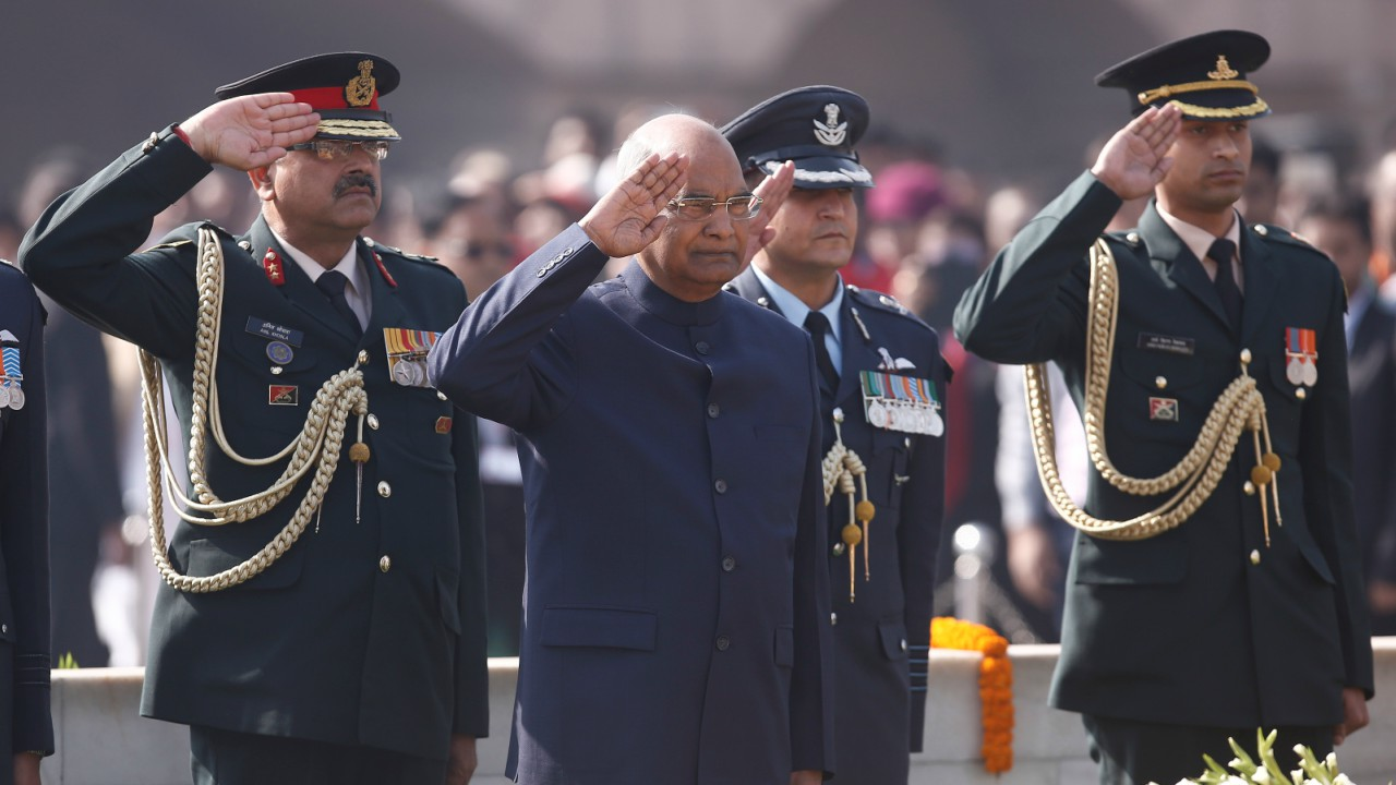 India's President Ram Nath Kovind pays his respects at the Mahatma Gandhi memorial on Gandhi's death anniversary at Rajghat in New Delhi, India (REUTERS)