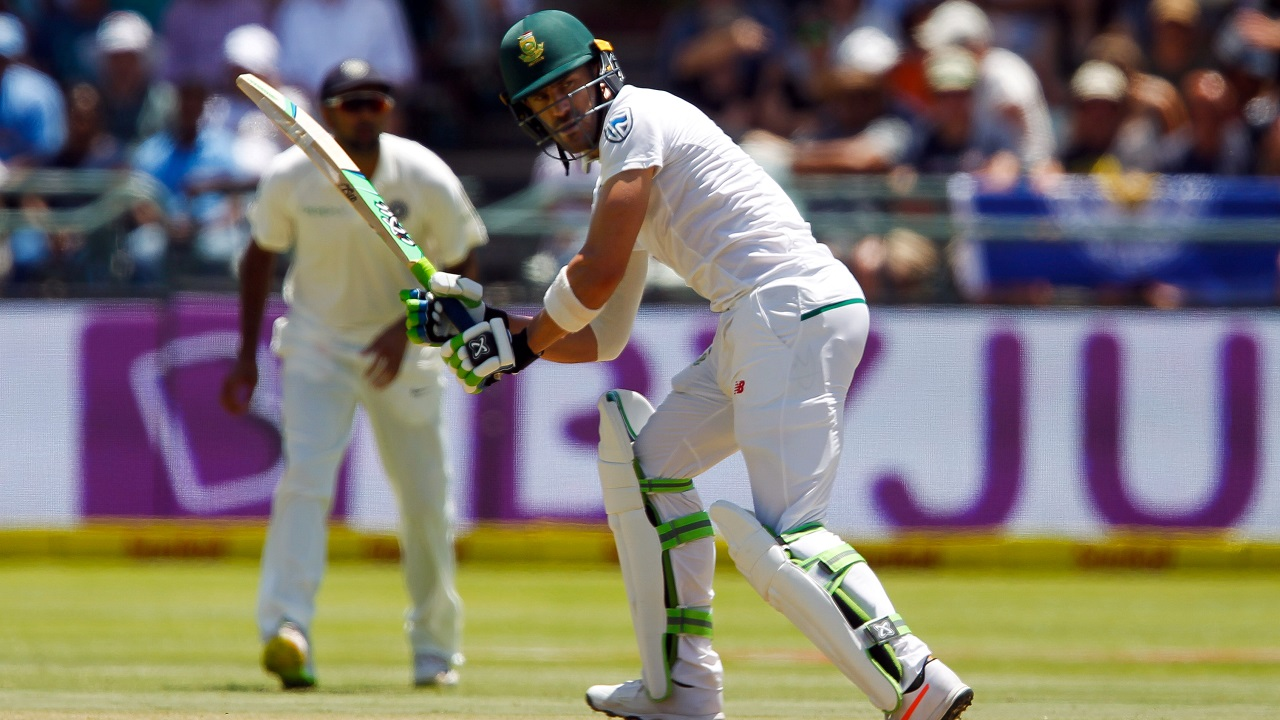 Proteas skipper Faf du Plessis' half century helped build the innings biggest partnership along with AB de Villiers, before he got caught by Wriddhiman Saha off Hardik Pandya's ball. (Image: Reuters)