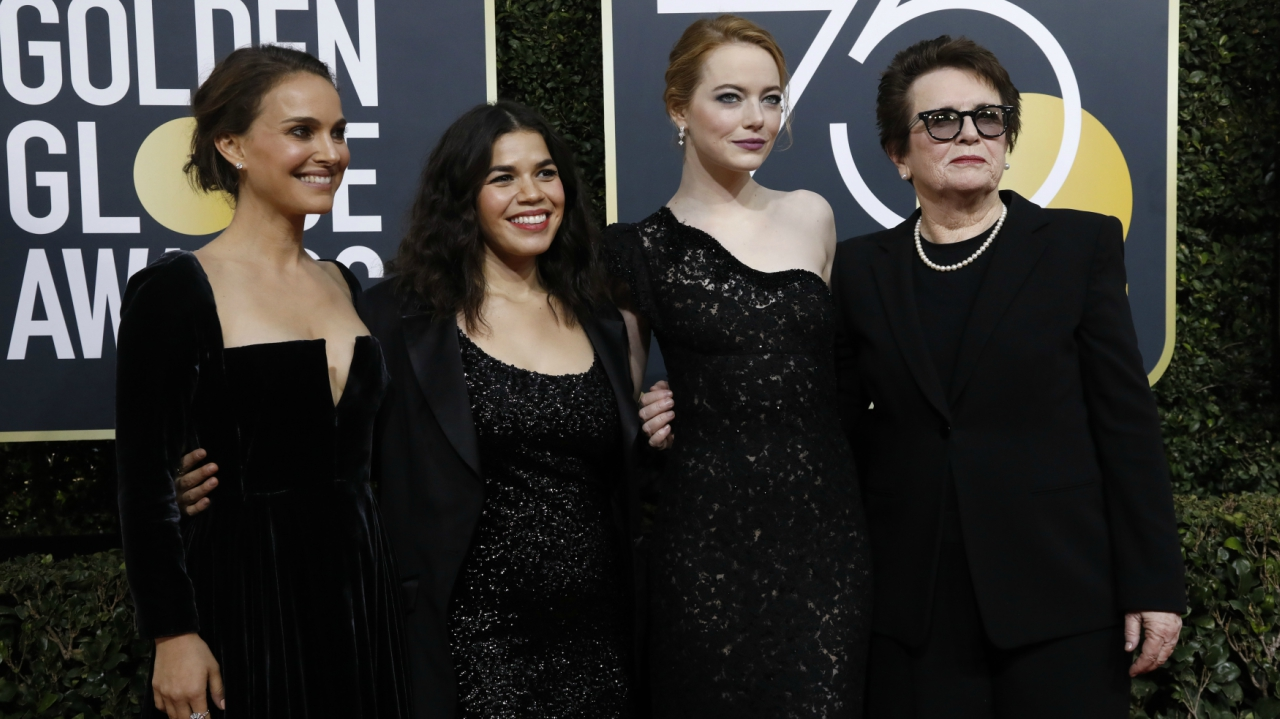 Actresses Natalie Portman, America Ferrera, Emma Stone and retired tennis great Billie Jean King (Source: Reuters)