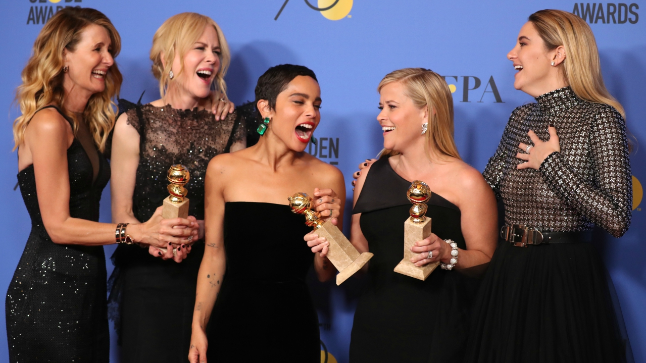 Laura Dern, Nicole Kidman, Zoe Kravitz, Reese Witherspoon and Shailene Woodley pose backstage after winning the award for Best Television Limited Series or Motion Picture Made for Television for Big Little Lies (Source: Reuters)