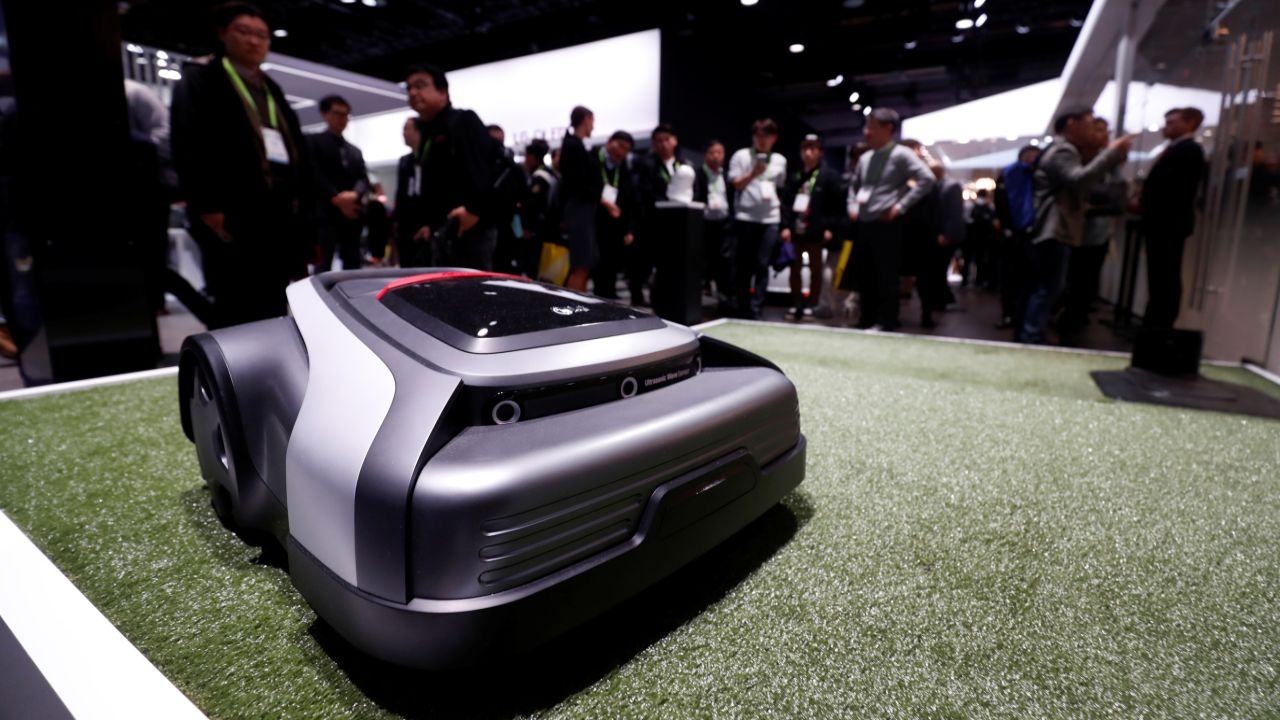 An LG robotic lawn mower is displayed at the Las Vegas Convention Center during the CES 2018. (Reuters)