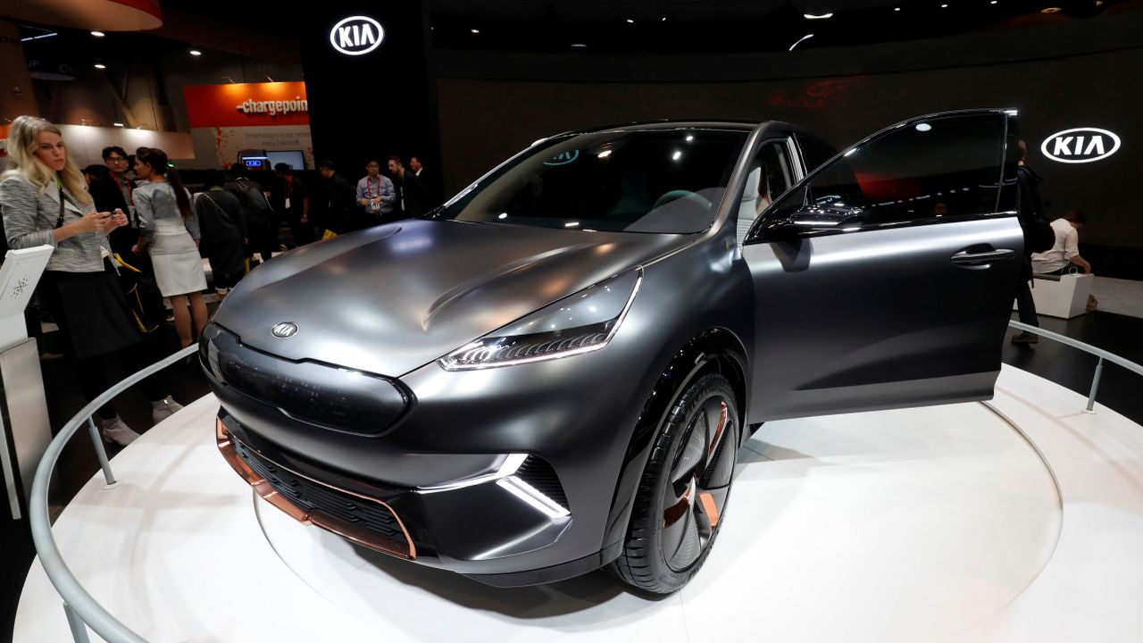 A Kia Niro EV is displayed at the Las Vegas Convention Center during the 2018 CES. (Reuters)