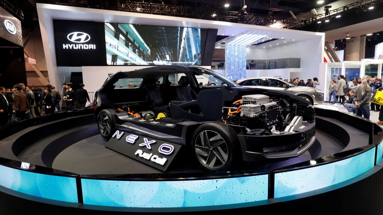 A cutaway display of a Hyundai NEXO fuel cell car is shown at the Las Vegas Convention Center during the 2018 CES. (Reuters)