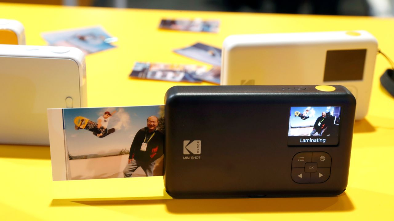 A photo comes out of the KODAK Mini Shot Instant Camera during the CES 2018. (Reuters)