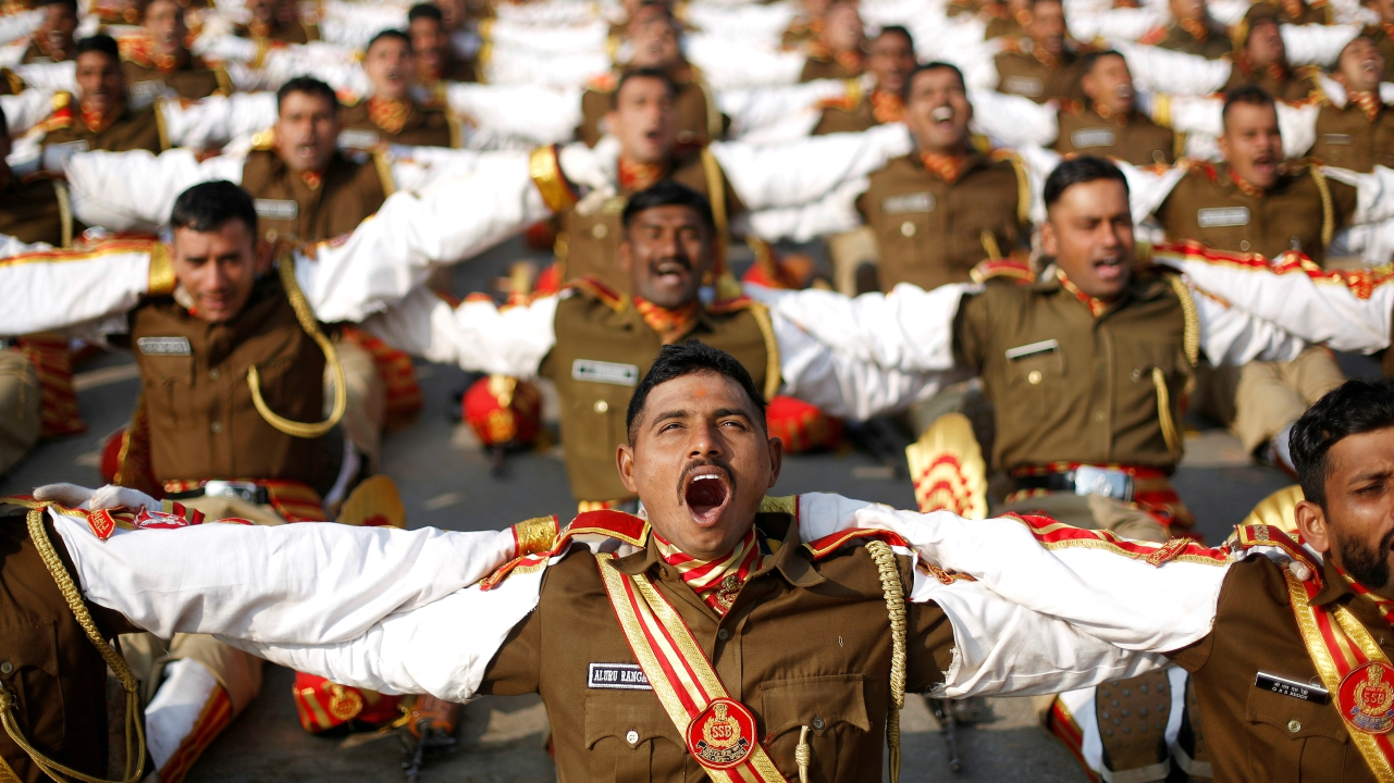 Indian soldiers take part in a laughter yoga session during their rehearsal for the Republic Day parade on a winter morning in New Delhi, India. (Reuters)