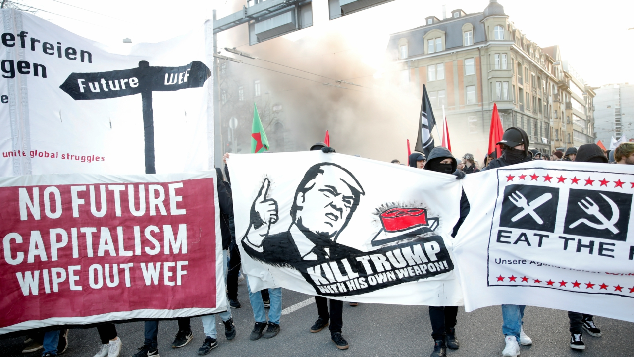 Meanwhile, protests against WEF and US President Donald Trump were held before the meet in Bern, Switzerland. (Reuters)