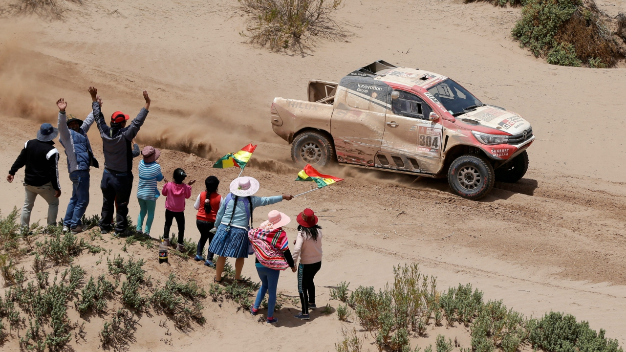 Giniel De Villiers of South Africa and co-pilot Dirk Von Zitzewitz of Germany drive their Toyota. (Reuters)