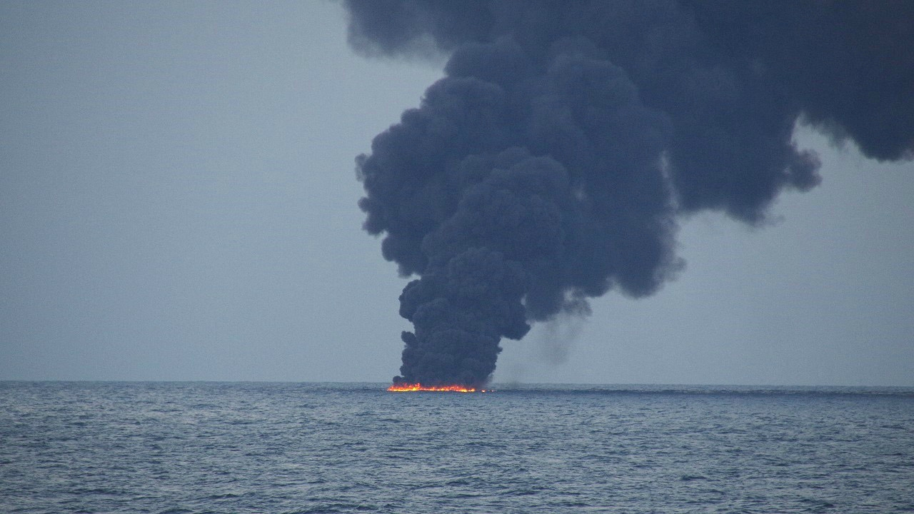 Flames and smoke from the Iranian oil tanker Sanchi is seen in the East China Sea. (Reuters)