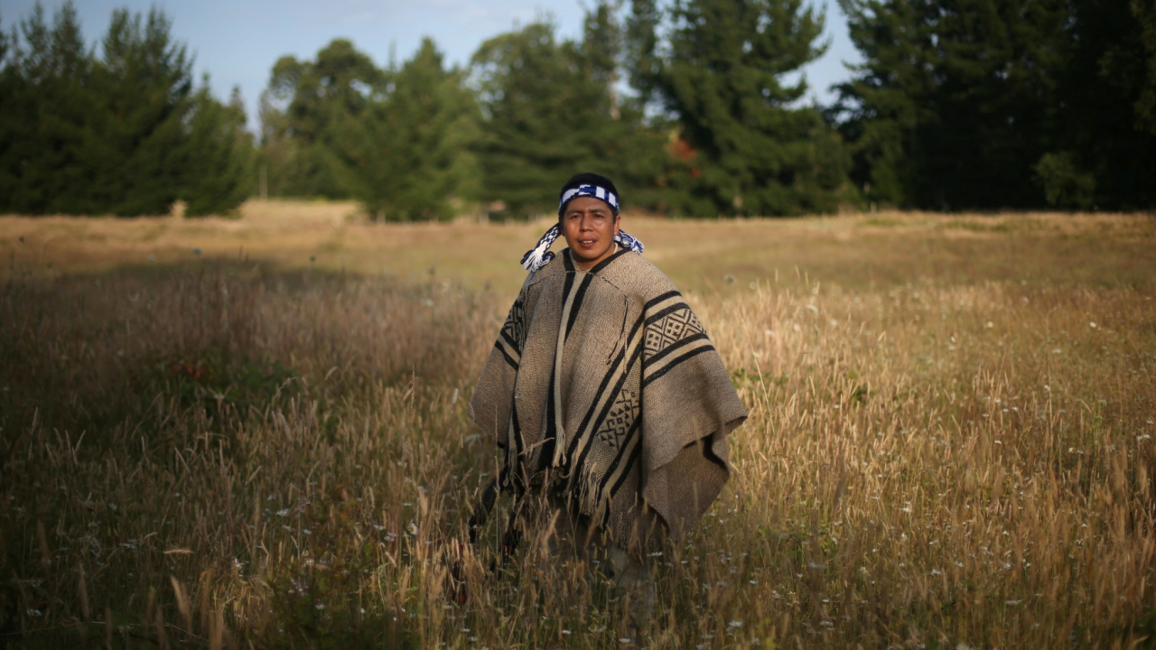 Rodrigo Huilpang, 34, a Mapuche indigenous, poses for a photo at Santiago Linconir village, near where Pope Francis will hold a mass in Chile's Araucania region. (Reuters)