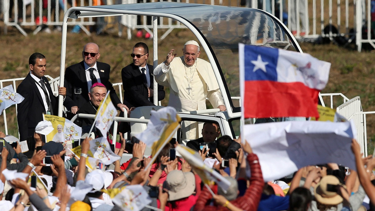 Pope Francis waves as he arrives to lead a mass at the Maquehue Temuco Air Force base in Temuco, Chile. (Reuters)