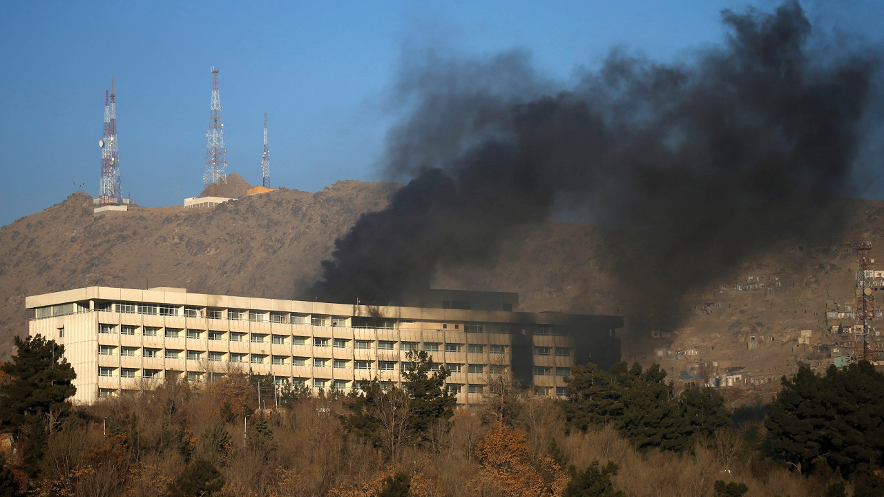 Smoke rises from the Intercontinental Hotel during an attack in Kabul, Afghanistan. (Reuters)