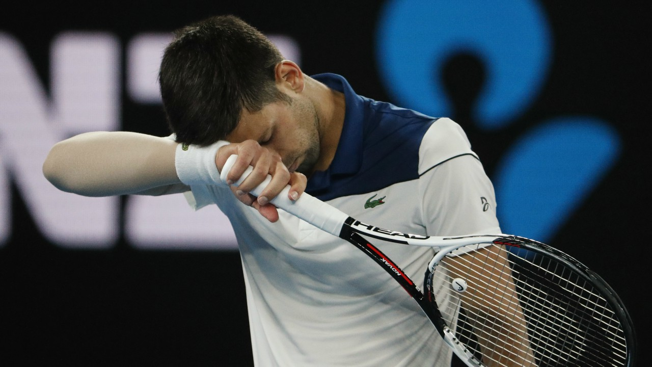 Serbia's Novak Djokovic reacts during his match against South Korea's Chung Hyeon. (REUTERS)