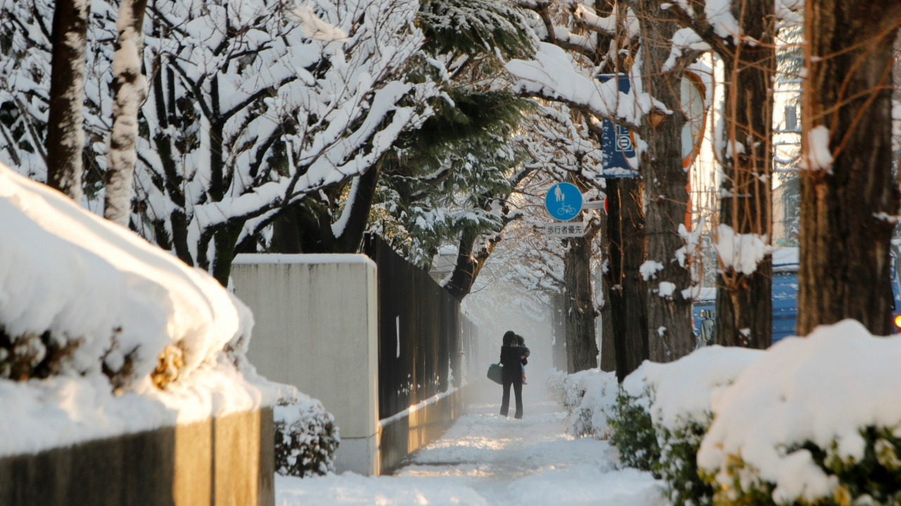 A woman and her baby make their way on a snow-covered sidewalk in Tokyo, Japan. (Reuters)