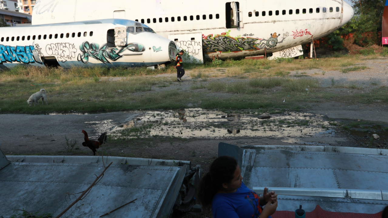 An aeroplane graveyard exists in eastern Bangkok, situated in Ramkhamhaeng where MD-82 planes have been abandoned. The place was left to ruin after an effort to turn it into a venue and a bar failed. (REUTERS)