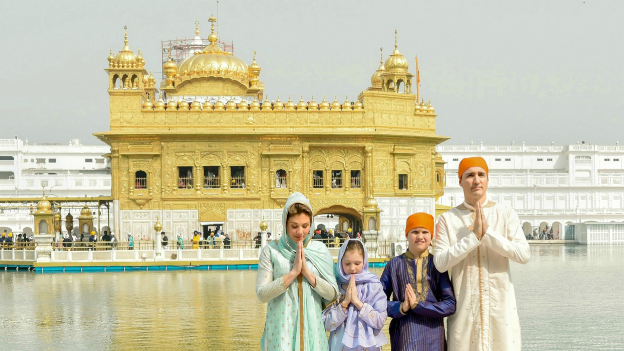 Canadian Prime Minister Justin Trudeau along with his family members offer prayers at Sri Harmandir Sahib (Golden Temple) in Amritsar. (PTI)