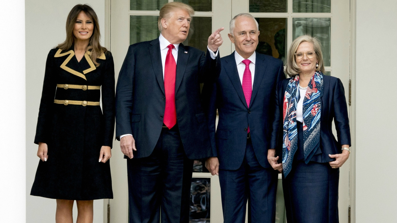 From left, first lady Melania Trump, President Donald Trump, Australian Prime Minister Malcolm Turnbull, and his wife Lucy Turnbull, pose for members of the media along the Colonnade as Turnbull arrives at the White House in Washington. (PTI)