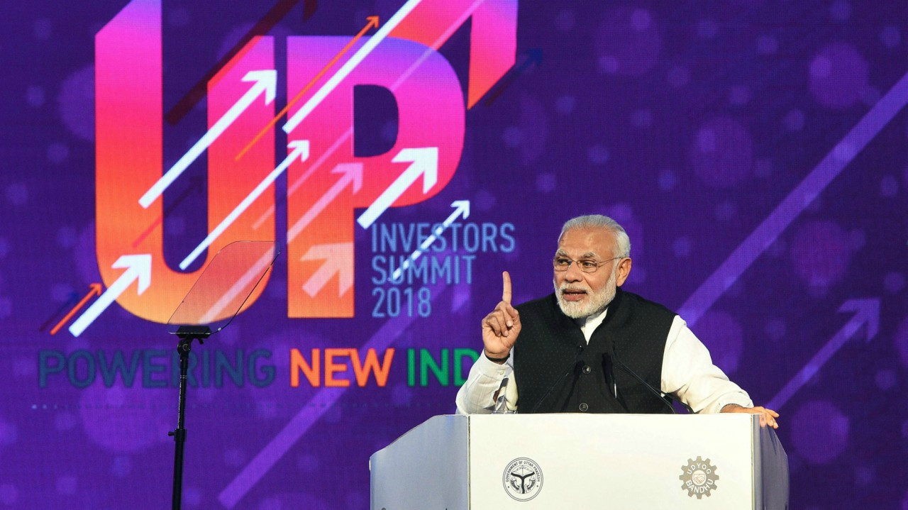 Prime Minister Narendra Modi speaks at the inauguration of the UP Investors Summit 2018, in Lucknow. (PTI)