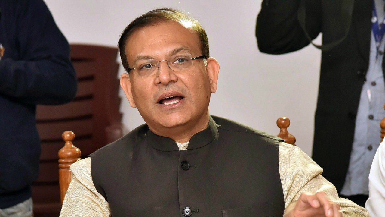 Union Minister of State for Civil Aviation Jayant Sinha addresses a meeting at BJP office in Patna on Monday. (PTI)