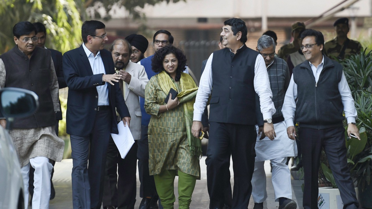 Congress party delegation RPN Singh, Randeep S Surjewala, Satyavratat Chaturvedi and other leaders coming out from Election Commission of India after a meeting with the EC in New Delhi. (PTI)