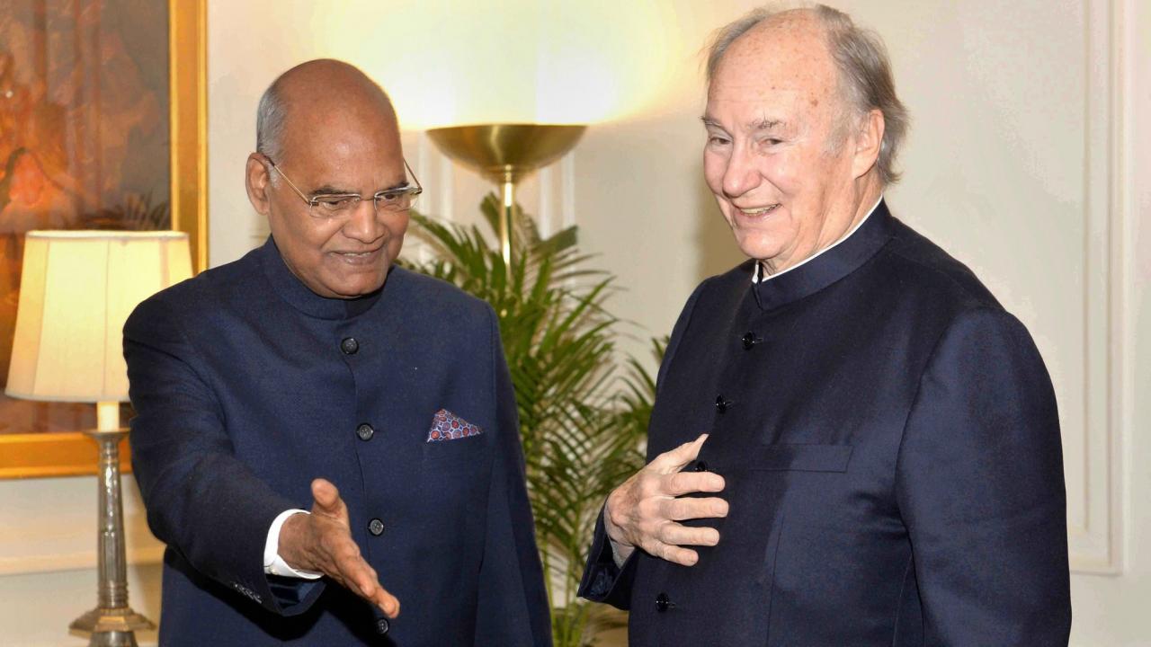 Prince Karim Aga Khan calls on President Ram Nath Kovind at Rashtrapati Bhavan in New Delhi. (PTI)