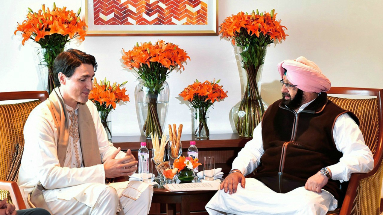 Canadian Prime Minister Justin Trudeau meets with Punjab Chief Minister Amarinder Singh in Amritsar. (PTI)