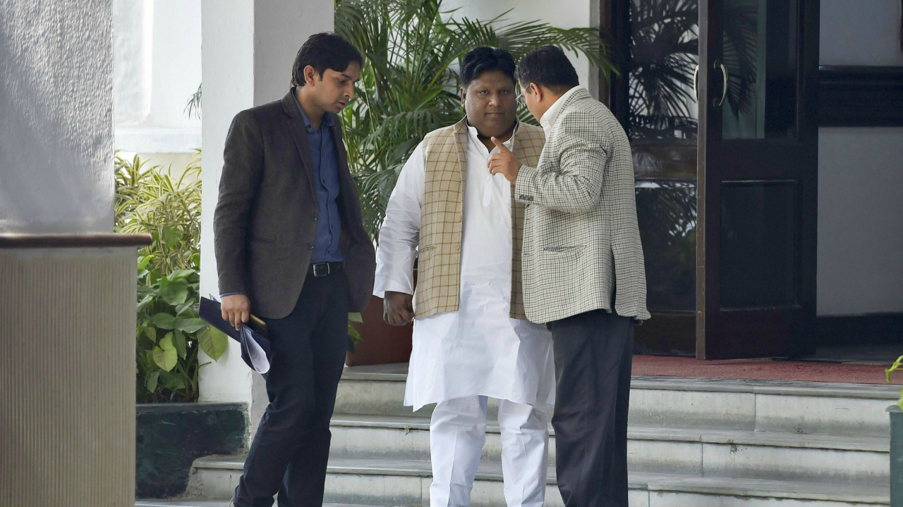 AAP MLA Imran Hussain waits outside LG House after meeting Lieutenant Governor Anil Baijal, in New Delhi. (PTI)