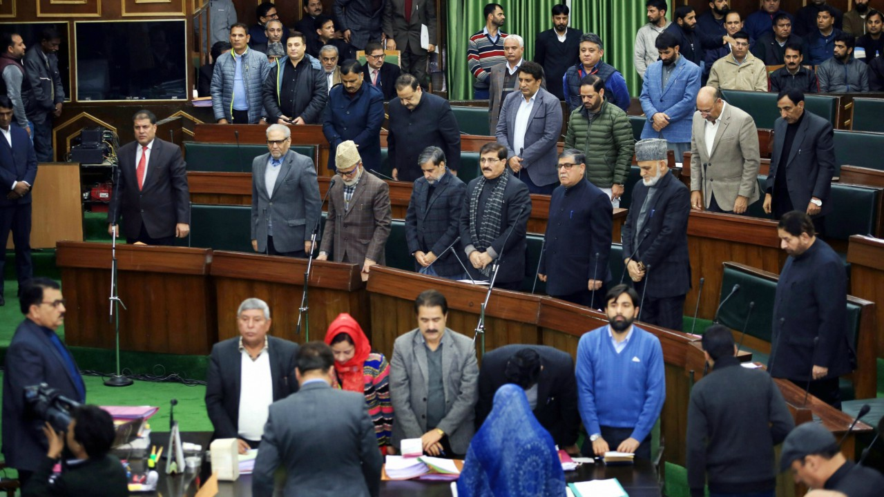 MLAs observe silence as they pay tributes to the Army soldiers killed in terrorist attack at Sunjuwan army camp, in Jammu. (PTI)