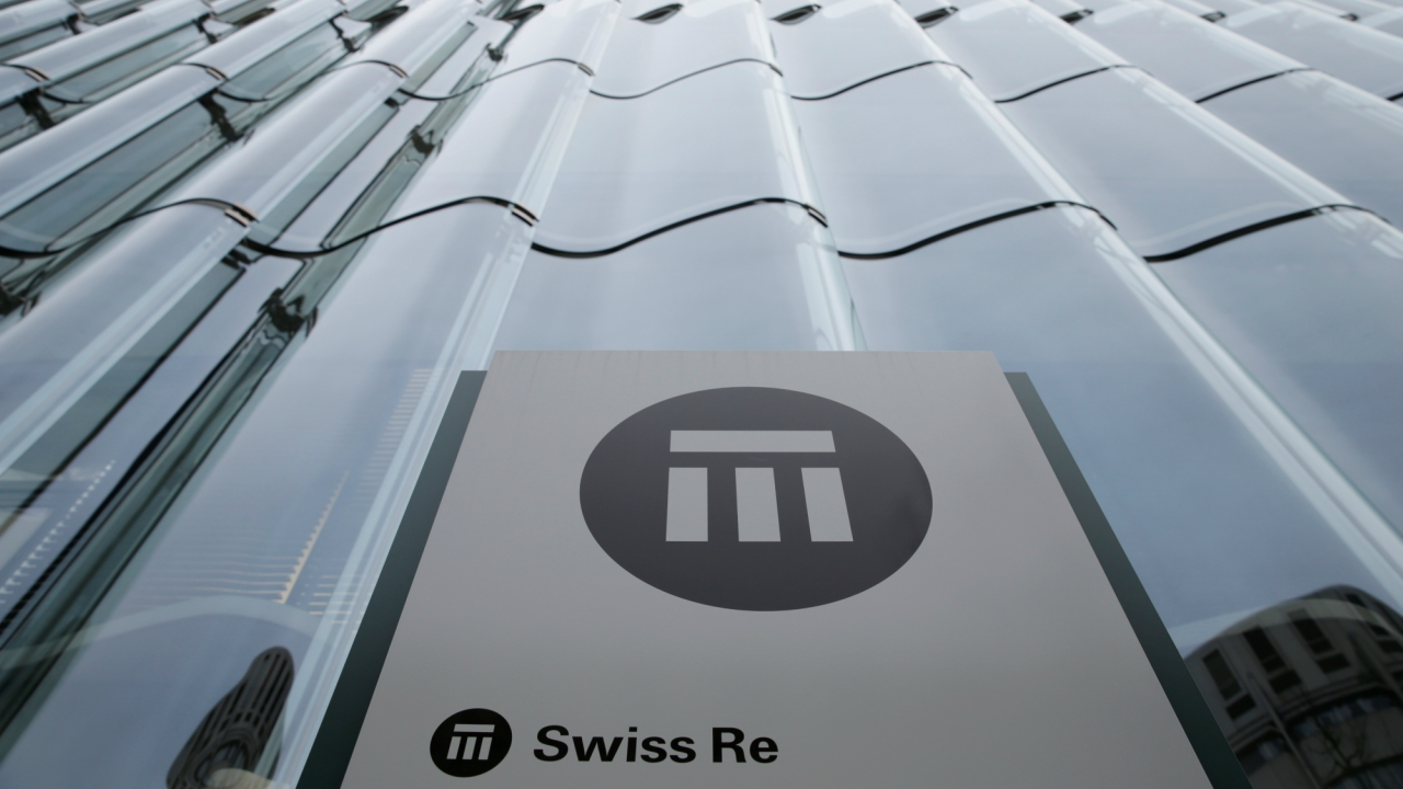 The logo of the world's second largest reinsurer Swiss Re is seen outside the company's offices in Zurich, Switzerland. (REUTERS)