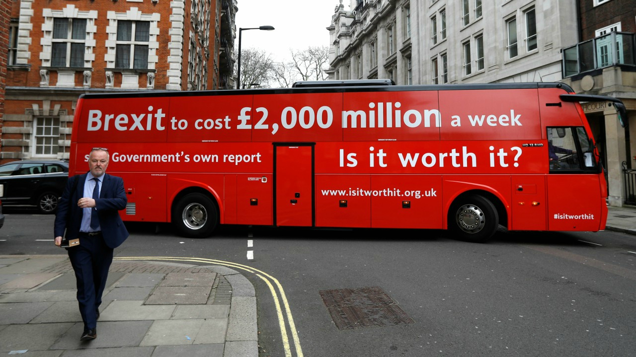 The anti-Brexit campaign group 'Is it worth it?' launch their campaign bus to the press before it embarks on an eight-day tour of the UK from outside parliament in London, Britain. (REUTERS)