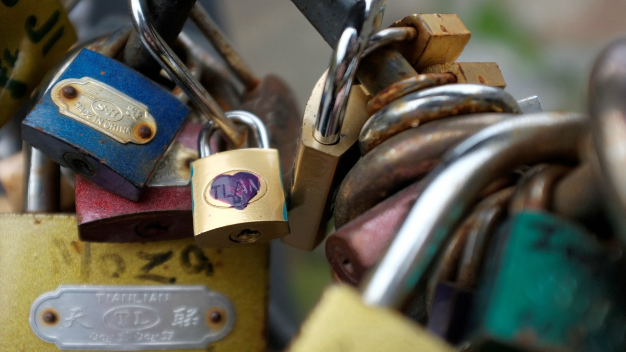 """Love Locks"" are attached to an iron grill on a foot bridge at the historical part of Tbilisi, Georgia. (REUTERS)"