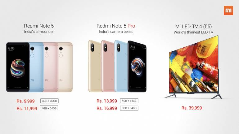 Xiaomi launches Redmi Note 5, Note 5 Pro and Mi LED TV 4