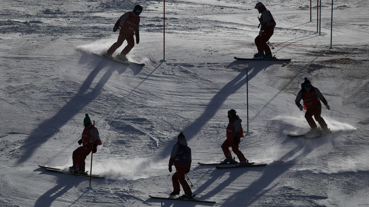 Workers groom the course during the first run of the women's slalom at the 2018 Winter Olympics in Pyeongchang, South Korea, Friday, Feb. 16, 2018. (AP/PTI)
