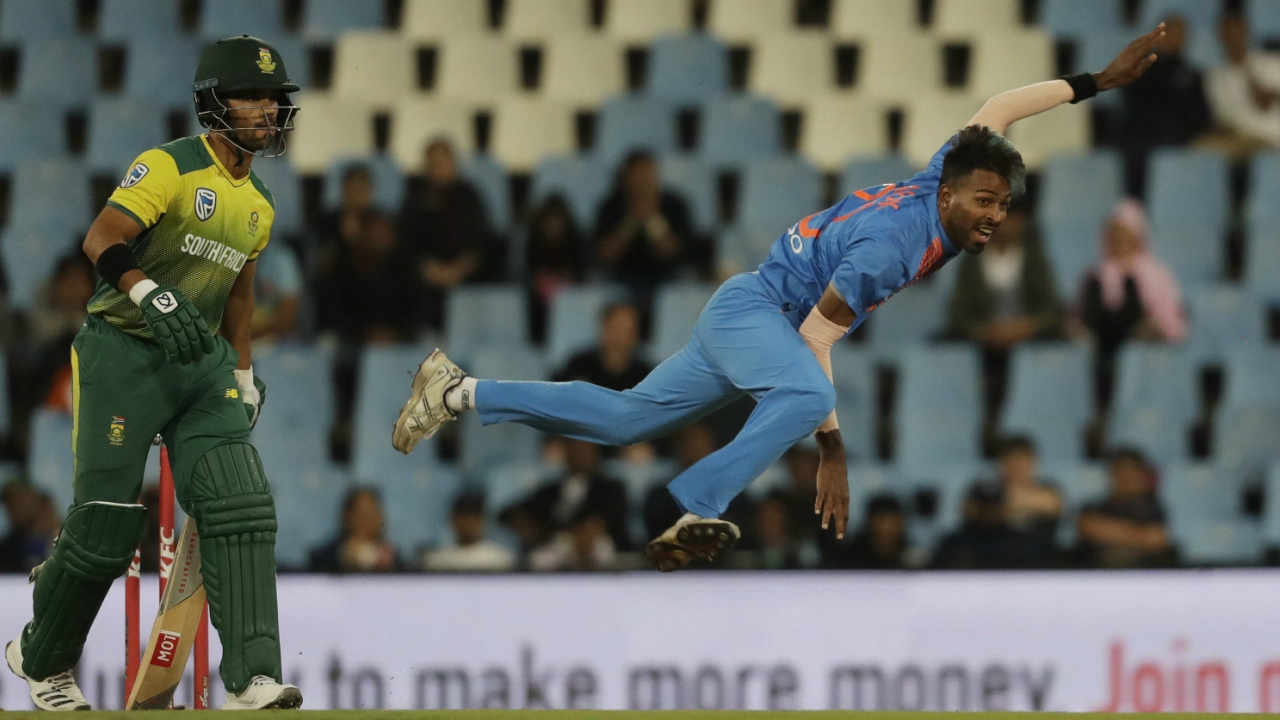 India's bowler Hardik Pandya, right, follows through his delivery as South Africa's captain JP Duminy, watches on during the second T20 cricket match between South Africa and India at Centurion Park in Pretoria, South Africa. (AP/PTI)