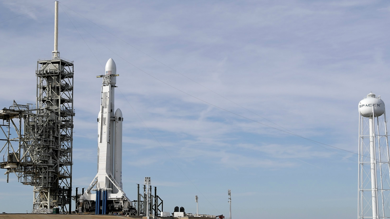 A Falcon 9 SpaceX heavy rocket stands ready for launch on pad 39A at the Kennedy Space Center in Cape Canaveral. (AP/PTI)