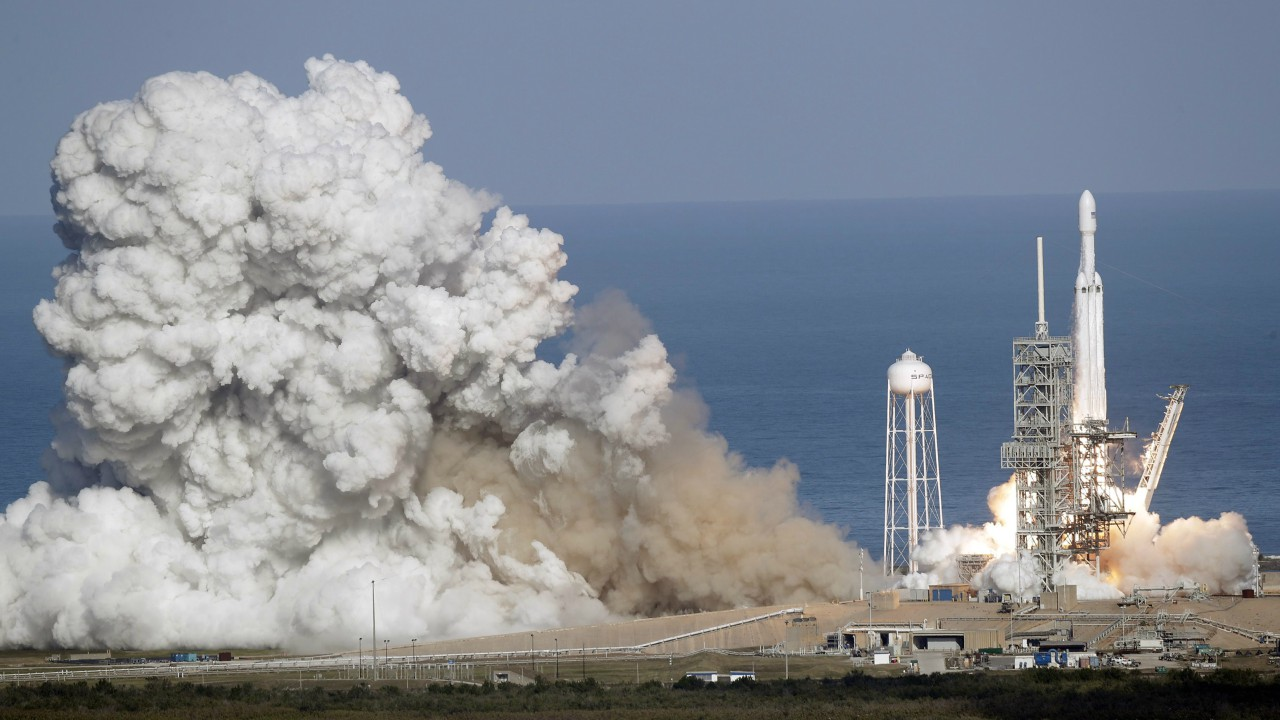 A Falcon 9 SpaceX heavy rocket lifts off from pad 39A at the Kennedy Space Center in Cape Canaveral (AP/PTI)