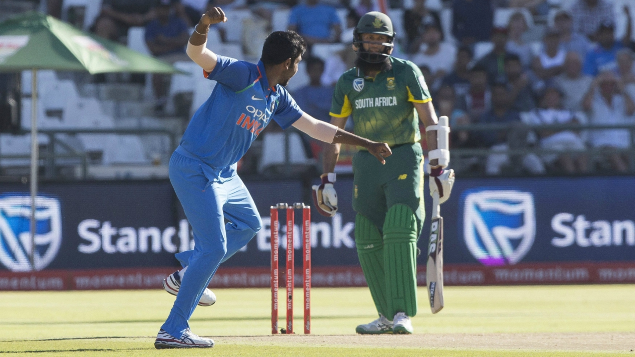 Indian bowler Jasprit Bumrah celebrates the wicket of South African batsman Hashim Amla during a One Day International match between South Africa and India at Newlands Stadium, in Cape Town, South Africa, Wednesday, Feb 7, 2018. (AP/PTI)