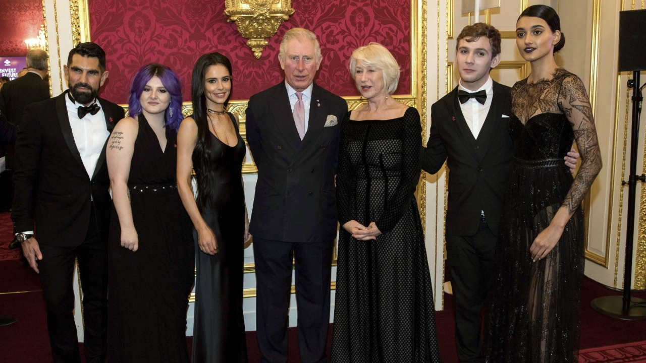 Britain's Prince Charles, center, poses for the media with singer Cheryl Tweedy, center left, Dame Helen Mirren, center right, and model Neelam Gill, right, at an Invest in Futures reception for The Prince's Trust at St James's Palace in London, Thursday, Feb. 8, 2018. (AP/PTI)