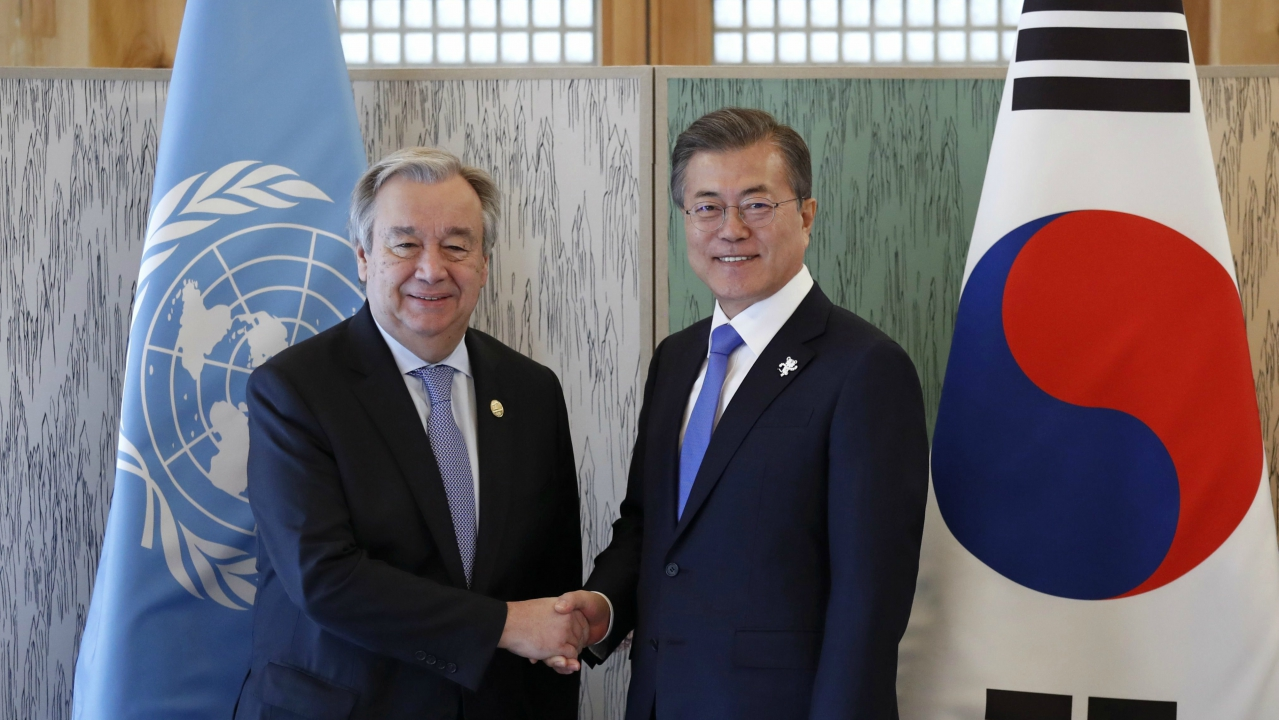 South Korean President Moon Jae-in, left, shakes hands with United Nations Secretary-General Antonio Guterres during their meeting in Gangneung, South Korea, Friday, Feb. 9, 2018. (AP/PTI)
