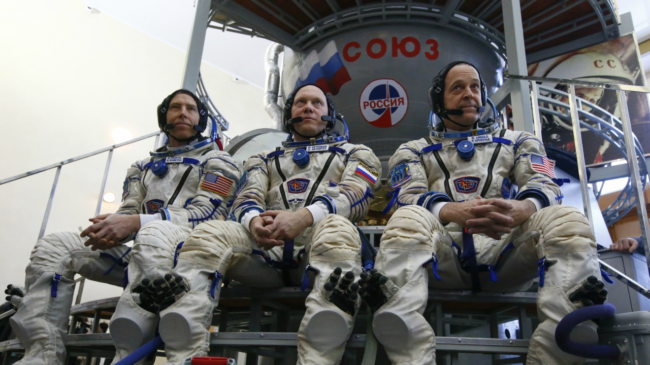 Crew members of the International Space Station (ISS) expedition 55-56, Roscosmos cosmonaut Oleg Artemyev (C), NASA astronauts Andrew Feustel (L) and Richard Arnold, pose for a picture as they attend the final qualification training for their upcoming space mission in Star City near Moscow, Russia. (Reuters)
