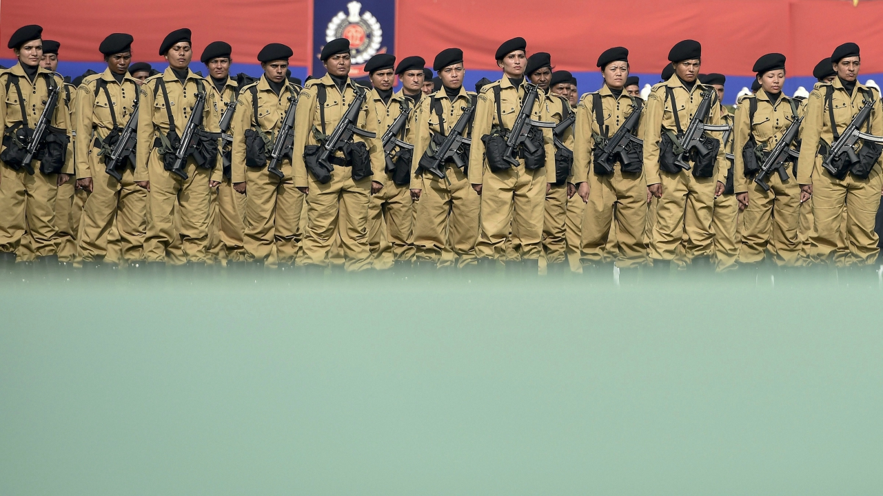 Delhi Police Women Commando participating during the 71st Raising Day of Delhi Police in New Delhi, on Friday. (PTI)