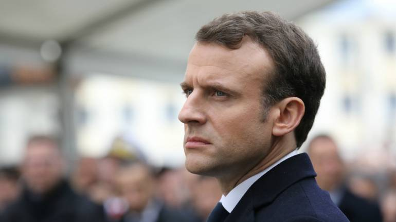 French President Emmanuel Macron attends a ceremony in tribute to the slain French prefect Claude Erignac in Ajaccio, on the French Mediterranean island of Corsica, France, February 6, 2018 as part of his two-day visit in Corsica. (Reuters)
