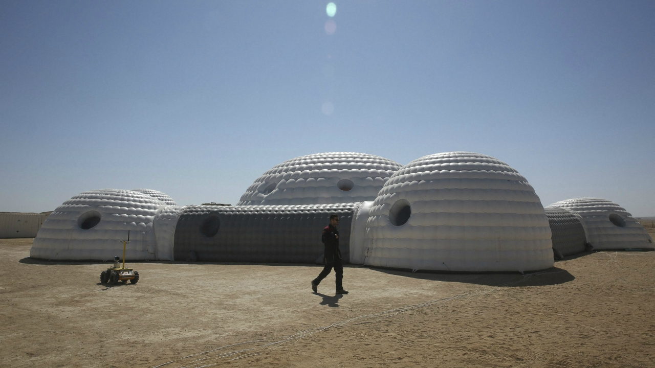 This Feb. 7, 2018, photo shows a 2.4-ton inflated habitat used by the AMADEE-18 Mars simulation in the Dhofar desert of southern Oman. The desolate desert in southern Oman resembles Mars so much that more than 200 scientists from 25 nations organized by the Austrian Space Forum are using it for the next four weeks to field-test technology for a manned mission to Mars. (AP/PTI)
