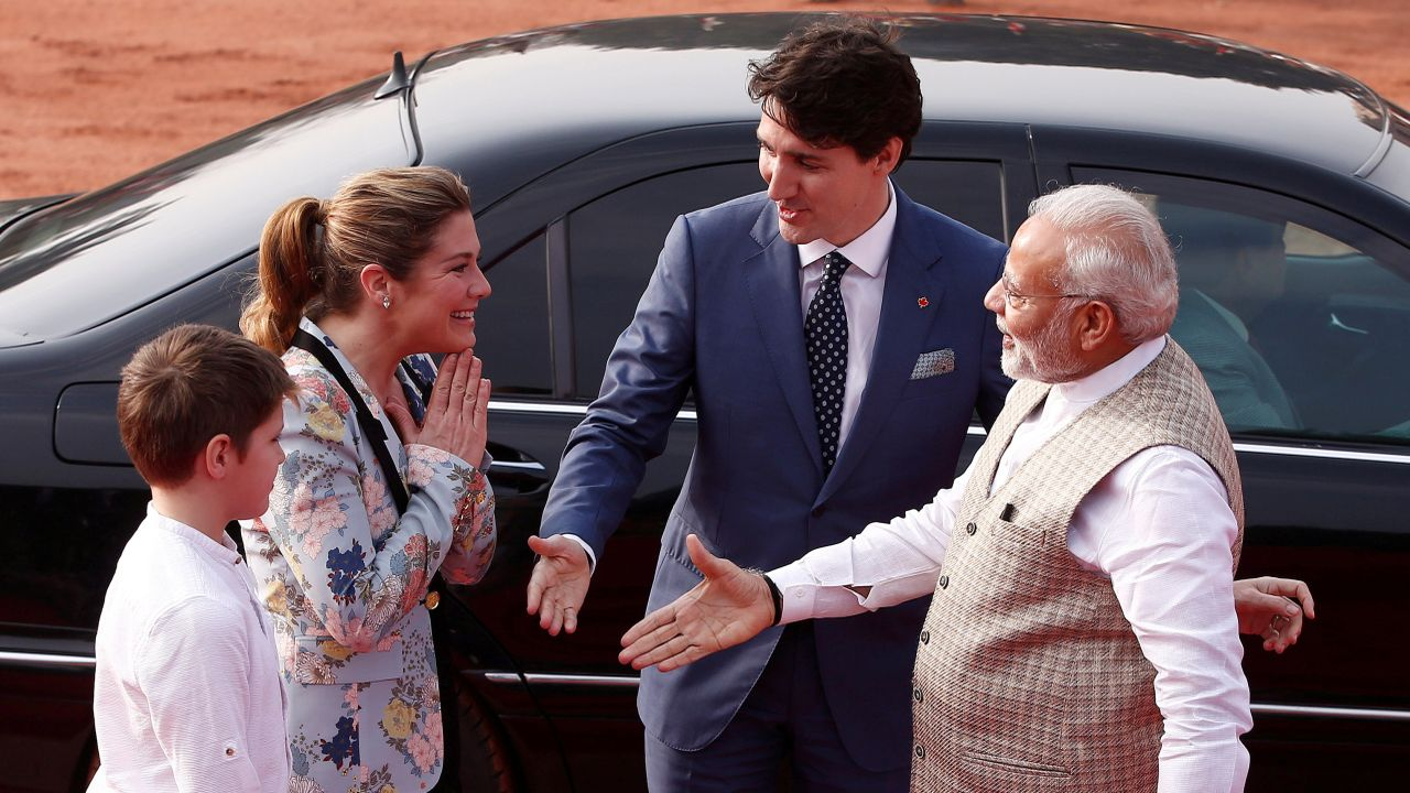 The Canadian PM and his family were accorded ceremonial welcome at the Rashtrapati Bhawan. (Reuters)