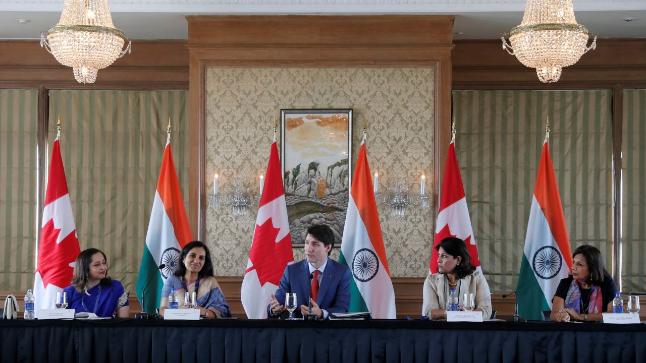 Justin Trudeau speaks during women business leaders' roundtable in Mumbai on Tuesday. (Reuters)