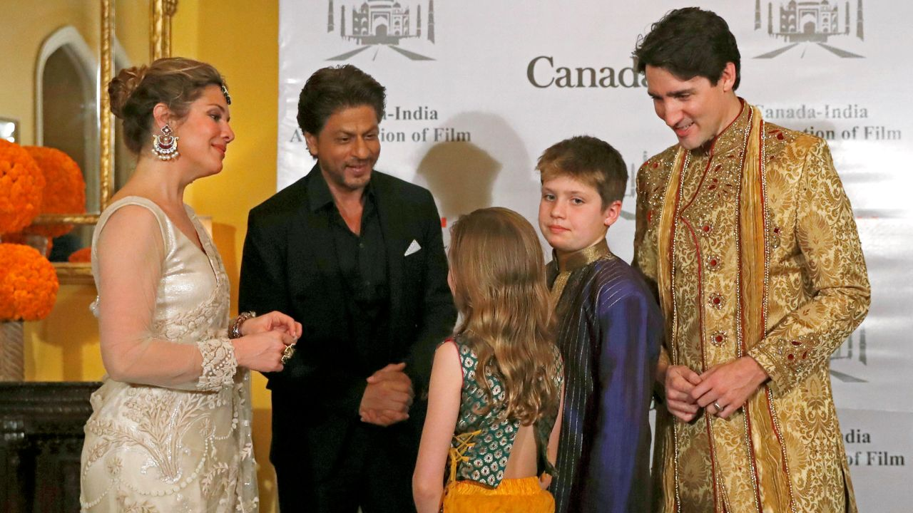 "Trudeau, his wife Sophie Gregoire Trudeau, their daughter Ella Grace and son Xavier met Bollywood actor Shah Rukh Khan. ""Tonight, we celebrated stronger ties & new co-production opportunities between Bollywood and the Canadian Film Industry. And who better to help than Shah Rukh Khan himself... Great to meet you!"" tweeted the Canadian PM. (Reuters)"