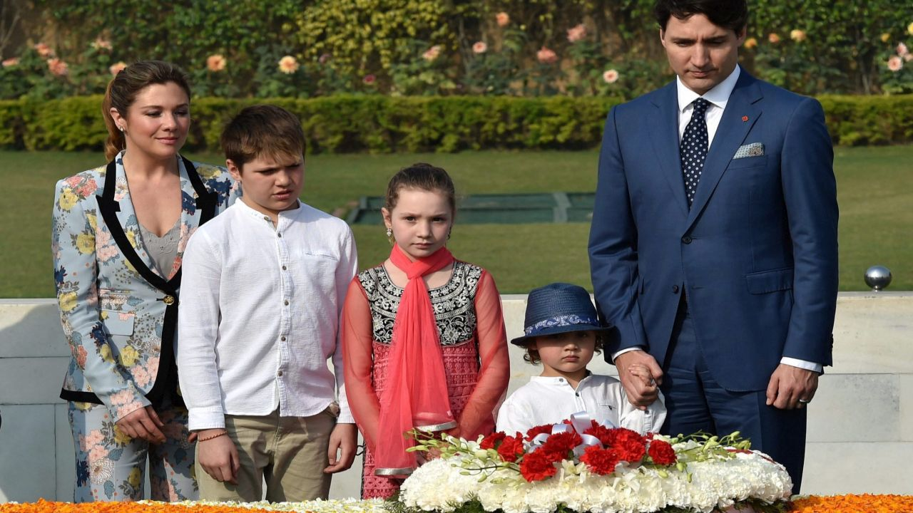 The Canadian PM and his family also paid tribute at Mahatma Gandhi's memorial Rajghat in New Delhi on the day. (PTI)
