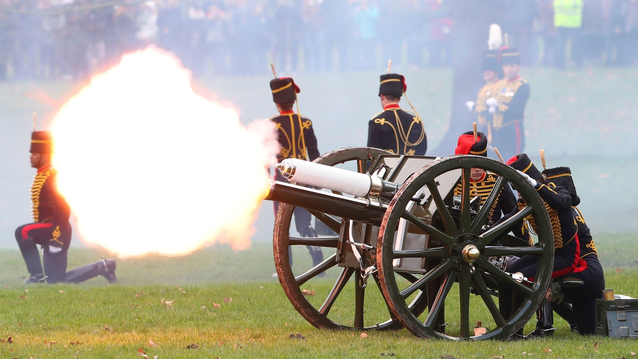 Members of the King's Troop Royal Horse Artillery fire a 41 gun salute to mark the 66th anniversary of Britain's Queen Elizabeth's accession to the throne, in Green Park, London. (Reuters)