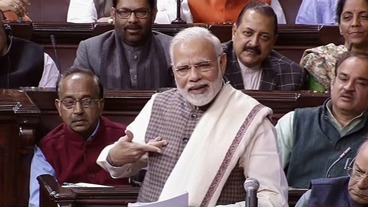 Prime Minister Narendra Modi speaks in the Rajya Sabha, at the Parliament in New Delhi on Wednesday. (PTI)